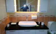 Çimstone 759 kod no lu siyah Savana ürününden imal edilmiş banyo tezgahı uygulaması. 4 kalınlık uygulamalı çimstone uygulaması.