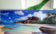 Mutfak dolap arası mozaik seçenekleri , resimli cam panel uygulamaları.