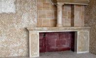 mermer-traverten mozaik duvar kapalama ve mozaik şömineler