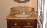 bal afyon mermer banyo, afyon balköpüğü mermer banyo tezgahı, bal rengi mermer,