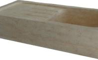 ALT-32 Traverten Damlalıklı Dikdörtgen Mermer Banyo Lavabosu / (Ölçüler :90*46*18 cm)