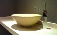 traverten mermer banyo tezgahı ve traverten mermer banyo lavabosu, mermer banyo lavabosu uygulaması, traverten tezgah ve evye , ankastre mermer banyo lavabosu