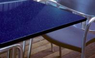 Mavi renkli Çimstone kafeterya masası uygulaması. Çimstone masa ,çimstone sehpa imalatı.