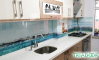 Dekoratif mutfak arası panel. Kız kulasi dekorlu mutfak arkası fayans paneli.