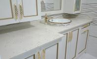 çimstone midye kabuklu Riviera modeli banyo tezgahı uygulaması. Cimstone mutfak tezgahlarında ve banyo tezgahlarında kullanılan en iyi yüzey kaplama ürünüdür.