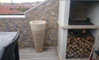 Traverten mermer ayaklı bahçe lavabosu, traverten patlatma duvar kaplaması