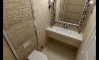 Traverten Banyo Uygulaması. Traverten iç ve dış dekorasyonda kullanılan dekoratif görünümlü şık bir taş türüdür.
