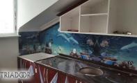 deniz dibi desenli mutfak panosu, mutfak tezgah arkası resim, cama resmi uygulama,