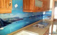 Mutfak arası cam panel, dekoratif panel cam kaplama,
