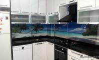 Manzaralı tezgah üstü cam kaplama, mutfak arkası manzaralı fayanslar