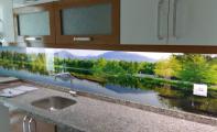 mutfak tezgahi üstüne resimli cam, mutfak tezgahı camı,