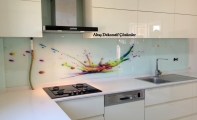 mutfak için cam panel, cam mutfak tezgahı, tezgah üstü cam panel