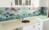 orkide desenli cam pano, mutfak için cam kaplama, tezgah camı