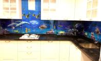 okyanus dibi desenli 3D cam panel, mutfak cam kaplama, tezgah üstü cam paneller, tezgah arası cam ,3d cam, üç boyutlu tezgahlar