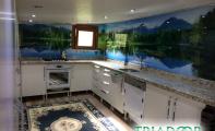 dekoratif mutfak fayansları, resim baskılı mutfak tezgahı, orman desenli mutfak tasarımları, tasarım harikası mutfaklar, üç boyutlu mutfak dekorları, mutfak dekorasyon fikirleri, ilginç mutfak tasarımları, hijyenik ve şık mutfaklar için cam seçimi, muhteşem mutfak fikirleri, ilham veren mutfak dekorasyonları