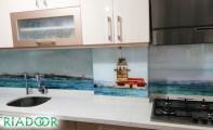 Mutfak arası resim dekorlu cam fayans paneli, dekorlu cam mozaik kaplama.