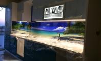 dekoratif resimli mutfak panosu, cam panel, mutfak arkası resim uygulaması