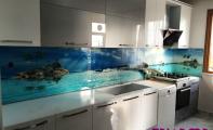 Mutfak Tezgah Arası duvar kapalası. Cam fayans ve cam mozaikten farklı olarak şimdide resimli cam panel.