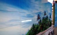 Resmli fayans ve resimli cam mozaik uygulaması.