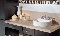 Çimstone dört santim kalınlık uygulamalı Sines modeli banyo tezgahı örneği..