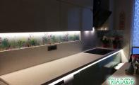 Dekorlu panel , resim dekorlu cam panel, mutfak tezgahı için dekoratif çözümler