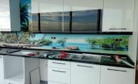 Mutfak tezgahı sırt kaplaması. Manzara baskılı kişiye özel mutfak panelleri.