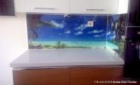 Çimstone 4cm kalınlık mutfak tezgahı Ada uygulaması ve tezgah arası resimli cam panel kaplaması, İstanbul - Beylikdüzü