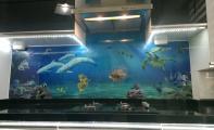 Resimli denizdibi cam panel kaplama. Resimli sanatsal cam fayans ve cam paneller.