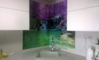 Mutfak tezgahı lavabo arkası resimli cam kaplama, Cam panel,